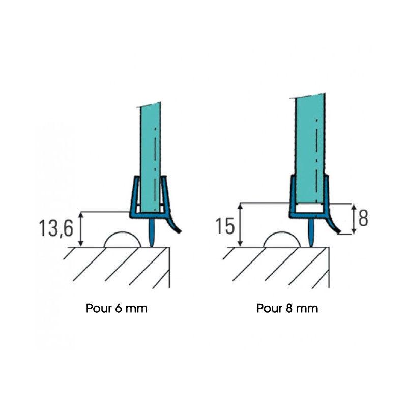 Accessoires pour la douche joint d 39 tanch it avec languette la longueur de 1 m - Joints d etancheite de bas de paroi fixe ...