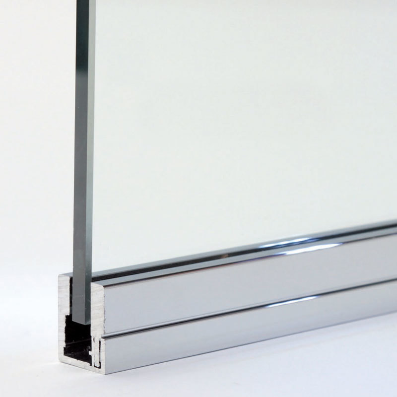 créations en verre - bain et douche - profil u à clip f209 chromé